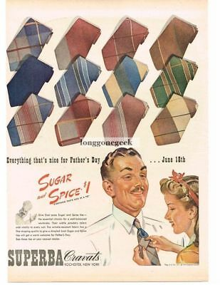 1944 SUPERBA Cravats Neckties Sugar And Spice art Vtg Print Ad