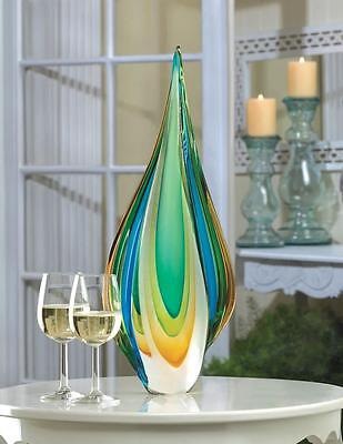 CONTEMPORARY UNIQUE COOL FLAME ART GLASS STATUE GREEN GOLD & BLUE DECOR~10015486