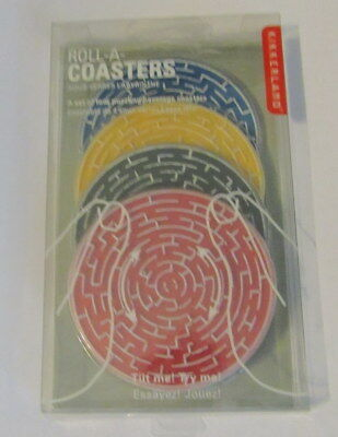 Kikkerland Roll-A-Coasters Set of 4 Labyrinth Puzzling Beverage Coasters -