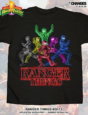 Mighty Morphin Power Rangers Ranger Things Superhero TV Show Adult Mens T Shirt](Power Ranger Adult)
