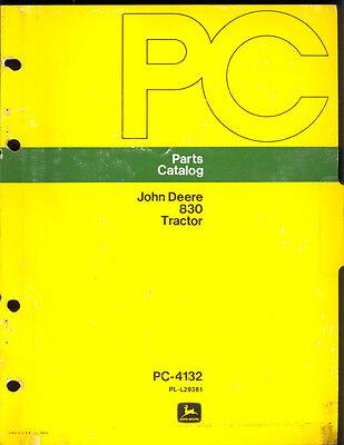 1973 John Deere Parts Catalog Model 830 Tractors