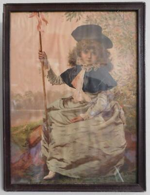 Genuine 1890s Victorian Framed Lithograph Little Bo-Peep Child Print in Frame