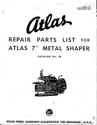 "1953 Atlas 7B  7"" Metal Working Shaper Operations Manual  Instructions"