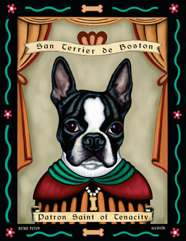 Boston Terrier - Black & White - Patron St. - 8x10 Art Print - Cute!!!