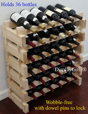 """Sturdy 36 Bottles Wine Rack Stackable Storage 6 Tier Shelves Stand """"Thick"""" Wood"""