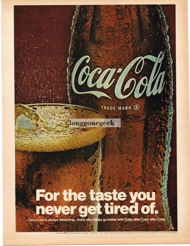 1967 Coca-Cola Coke Wet Bottle and Glass Vintage Ad