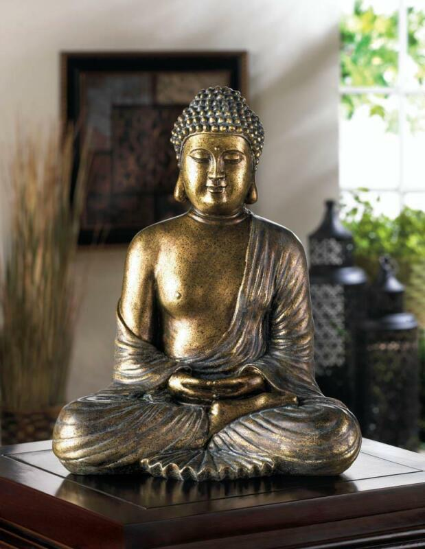"LARGE 12"" THAI BUDDHA ZEN LOTUS POSITION SITTING HINDU MEDITATION PEACE STATUE"