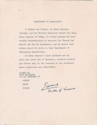 "Rare Typed Manuscript Of ""instrument Of Abdication"" Signed By King Edward Viii"