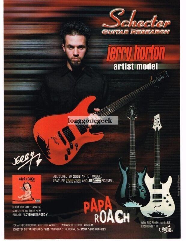 2002 SCHECTER Papa Roach Electric Guitars JERRY HORTON Vintage Ad