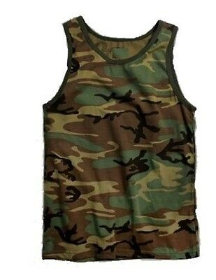 (Woodland Camo Tank Top PT t-shirt Work Out US Army Marine Corps USMC S-3X )