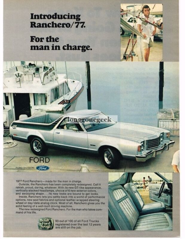 1977 Ford Ranchero Pickup Truck Car Automobile Vintage Ad
