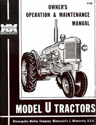 Minneapolis Moline U Utu Uto Uts Utc Utn Ute Owner Operators Maintenance Manual