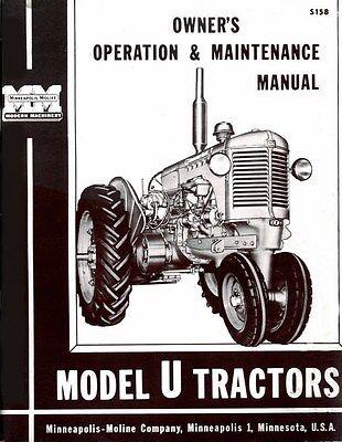 Minneapolis Moline U Utu Uto Uts Utc Utn Ute Owner Operators Maintenance Manual