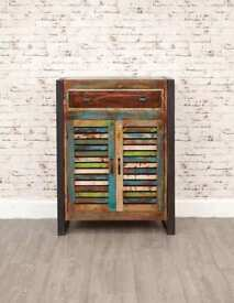 Rustic Industrial Shoe Storage Cupboard with Drawer