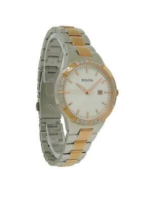 Bulova 98R169 Women's Off White Round Analog Date Diamond Watch