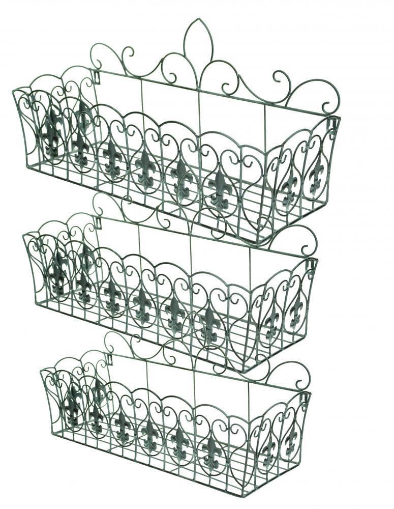 e2e fleur de lis vintage grey metal wire wall hanging. Black Bedroom Furniture Sets. Home Design Ideas