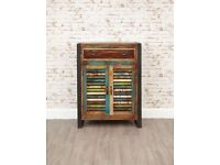 Java Industrial Shoe Storage Cupboard with Drawer - Reclaimed Boatwood