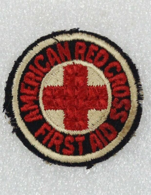 """Red Cross: c.1926 First Aid patch, 2"""" round w/red letters on black, cut edge"""