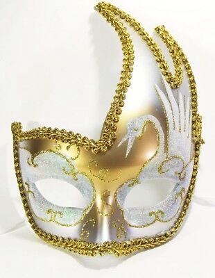 MASCHERINA VENEZIANA decorata color oro e bianco - venezia maschera domino 94fffd55597a