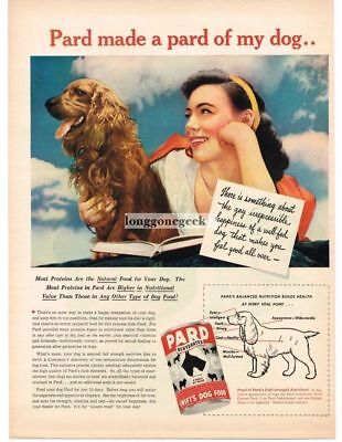 1945 Pard Dog Food Cocker Spaniel Vtg Print Ad