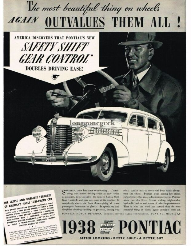 1938 Pontiac SILVER STREAK 4-door Sedan With Safety Shift art Vintage Ad
