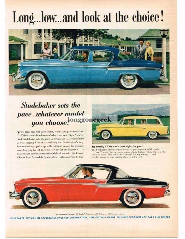1955 Studebaker COMMANDER Blue 4-door Red & Black 2-door Vintage Print Ad