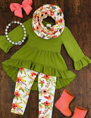 Toddler Boutique Clothing (Boutique Toddler Kids Baby Girl Ruffle Top Dress Pants Legging Outfit Clothes)