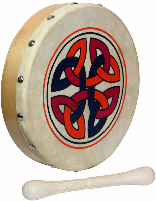 MINI 8in CELTIC LINKS BODHRAN! Ornamental traditional Irish Drum! With beater