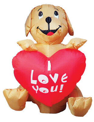 DOG WITH HEART VALENTINES DAY 4 FT AIRBLOWN INFLATABLE YARD DECORATION ](Valentine Inflatable)