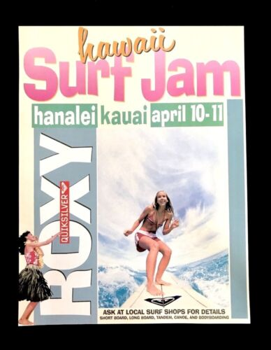 Hawaii • SURF JAM Poster • ROXY Quiksilver • Hanalei Kauai • SURFER Daize Shayne