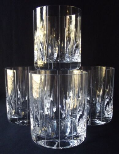"4 RARE MIKASA ""PARK AVENUE"" EXTRA LARGE DOUBLE OLD FASHIONED CRYSTAL GLASSES"