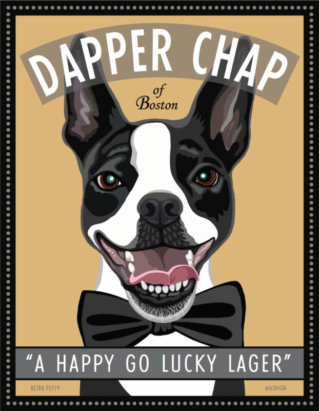Boston Terrier - Dapper Chap of Boston - 8x10 Art Print - Cute!!!