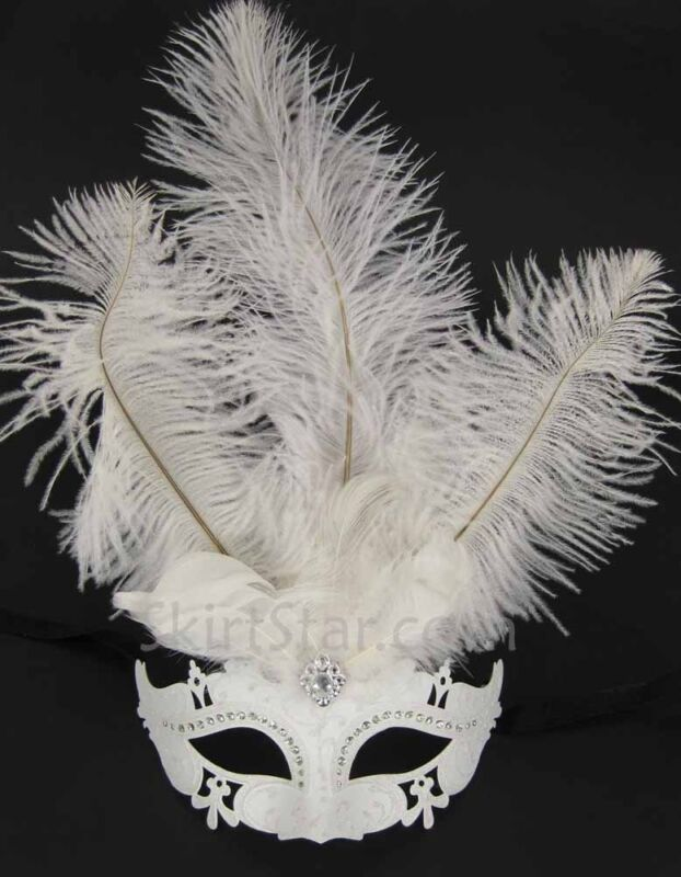 VENETIAN MASK half masquerade Crystal LASER CUT feathers Carnivale WHITE Asian