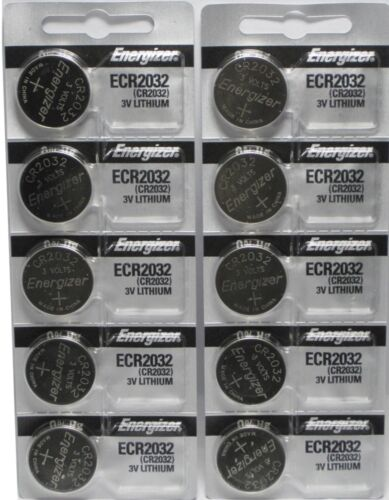 Pack of 10 PC ENERGIZER CR2032 WATCH BATTERIES 3V LITHIUM CR 2032 DL2032 BR2032