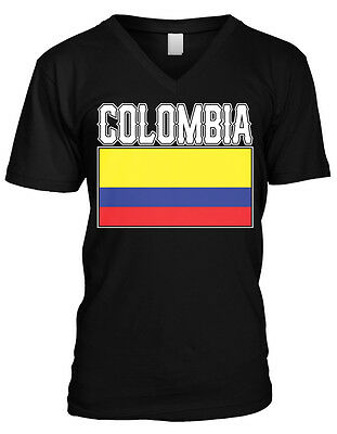 Bold Colombia Flag   Colombian Pride Republic Of Colombia Mens V Neck T Shirt