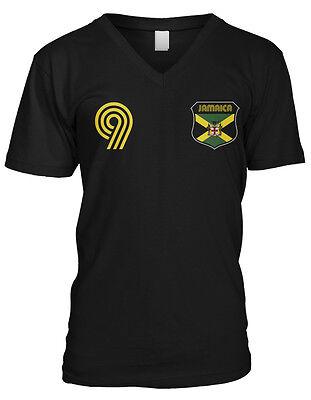 Jamaica Flag Crest National Soccer Irie Mon Football Pride Mens V-neck T-shirt