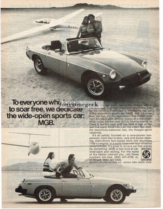 1976 MGB Sports Car Glider Sailplane Vintage Ad