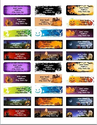 30 Personalized Return Address labels Halloween Buy 3 get 1 free All pics {haa5}