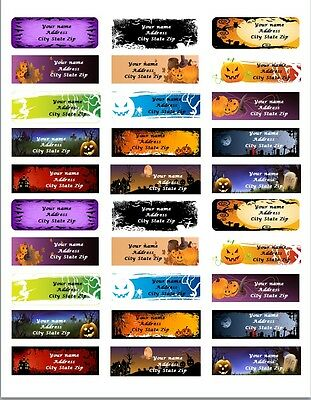 30 Personalized Return Address labels Halloween Buy 3 get 1 free All pics {haa5} - Halloween Buy