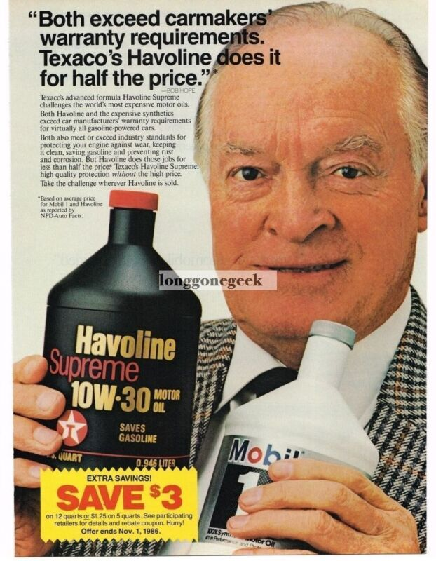 1986 Texaco Havoline Supreme Motor Oil Bob Hope Vintage Ad