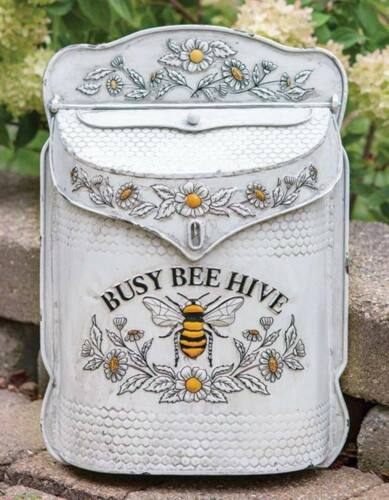 Bee Hive White Metal Post Box Country Farmhouse Vintage Style Aged Distressed