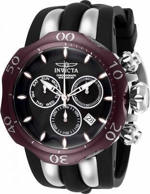 Invicta Venom 26662 Men's Round Chronograph Date Black & Burgundy Analog Watch