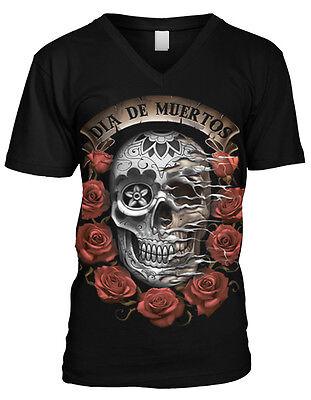 Dia De Muerto Day Of The Dead Halloween Mexico Holiday Mens V-neck T-shirt (De Dia De Halloween)
