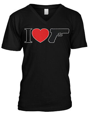 I Love Hand Guns - 2nd Amendment Gun Lover Mens V-neck T-shirt