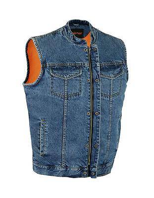 Mens Motorcycle Blue   Blk Sons Of Anarchy Denim Club Vest Gun Pocket Upto 12Xl
