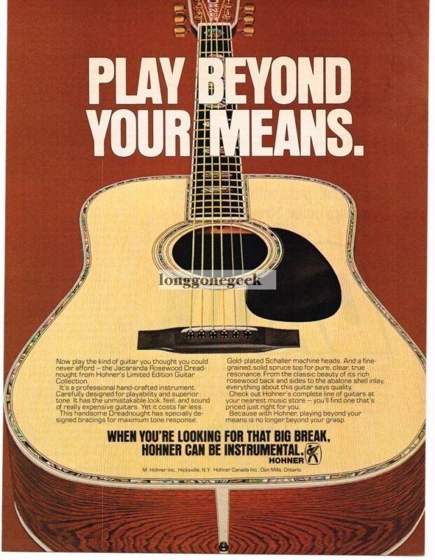 1978 HOHNER Acoustic Guitar Jacaranda Rosewood Dreadnaught Vintage Print Ad