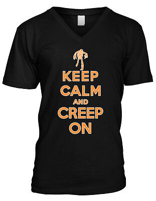 Keep Calm and Creep On- Happy Halloween Scary Zombie Mens V-neck T-shirt