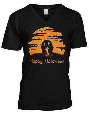 Happy Halloween RIP- Gravestone Zombie Arm Graveyard Mens V-neck T-shirt