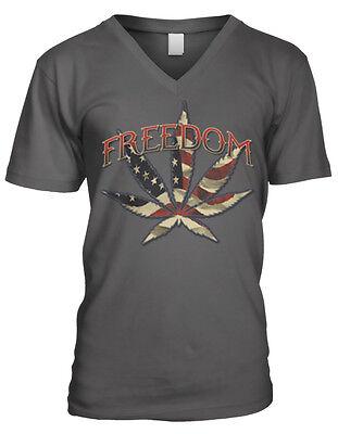 Freedom Pot Leaf Weed Red White Blue Flag Usa America Smoke Mens V Neck T Shirt