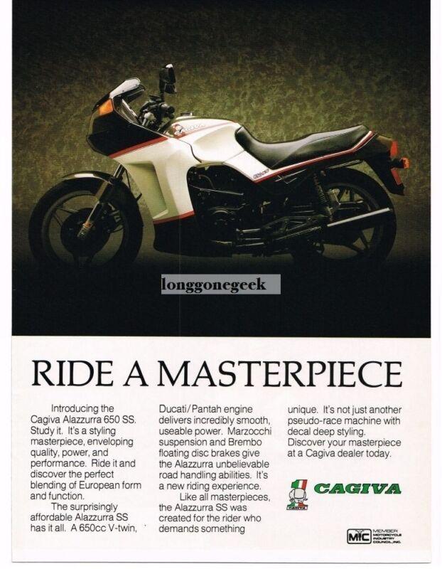 1987 Cagiva Alazzurra 650 SS Motorcycle Vintage Ad